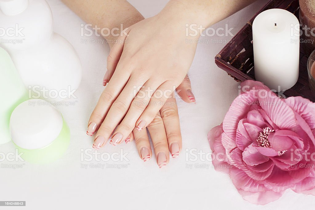 Woman hands with manicure royalty-free stock photo