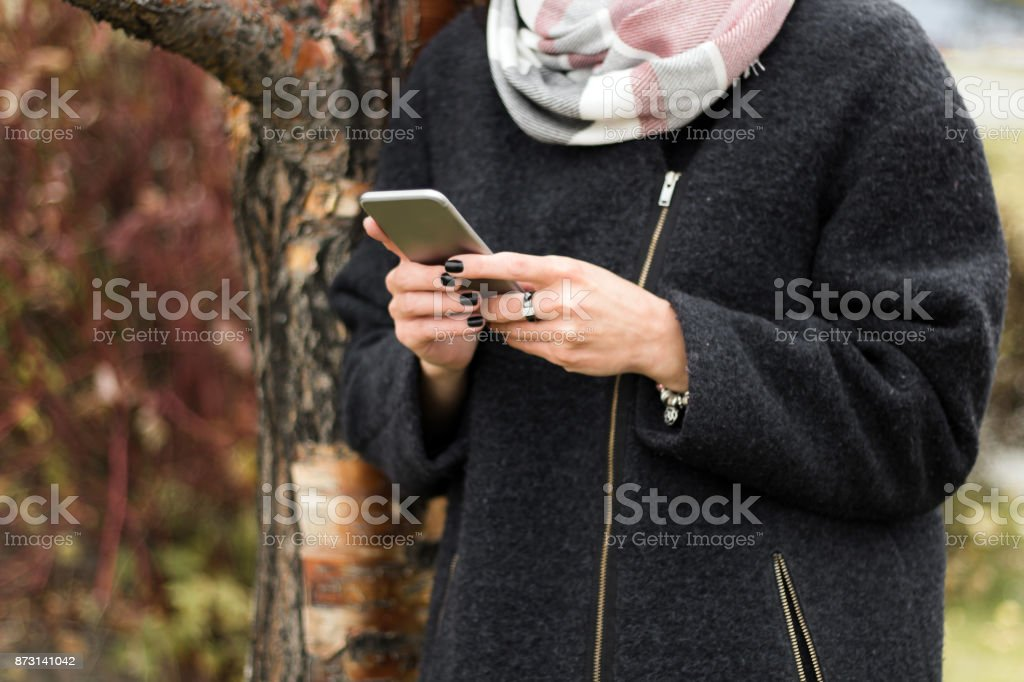 woman hands with smartphone stock photo