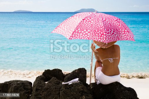 istock woman hanging out at the beach 173911626