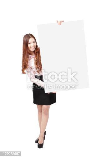 528291188 istock photo Woman Happy Smile Showing blank billboard 179072587