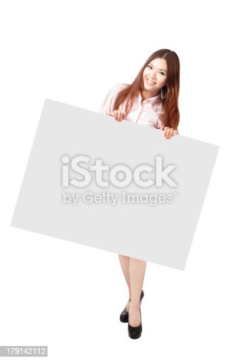 528291188 istock photo Woman Happy Smile Showing blank billboard 179142112