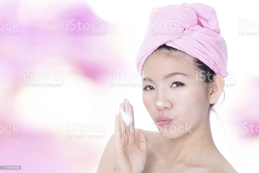 woman happy washing face with foam on hands royalty-free stock photo