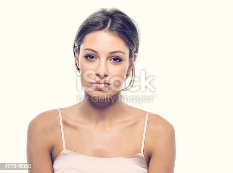 Woman happy young beautiful studio portrait with healthy skin