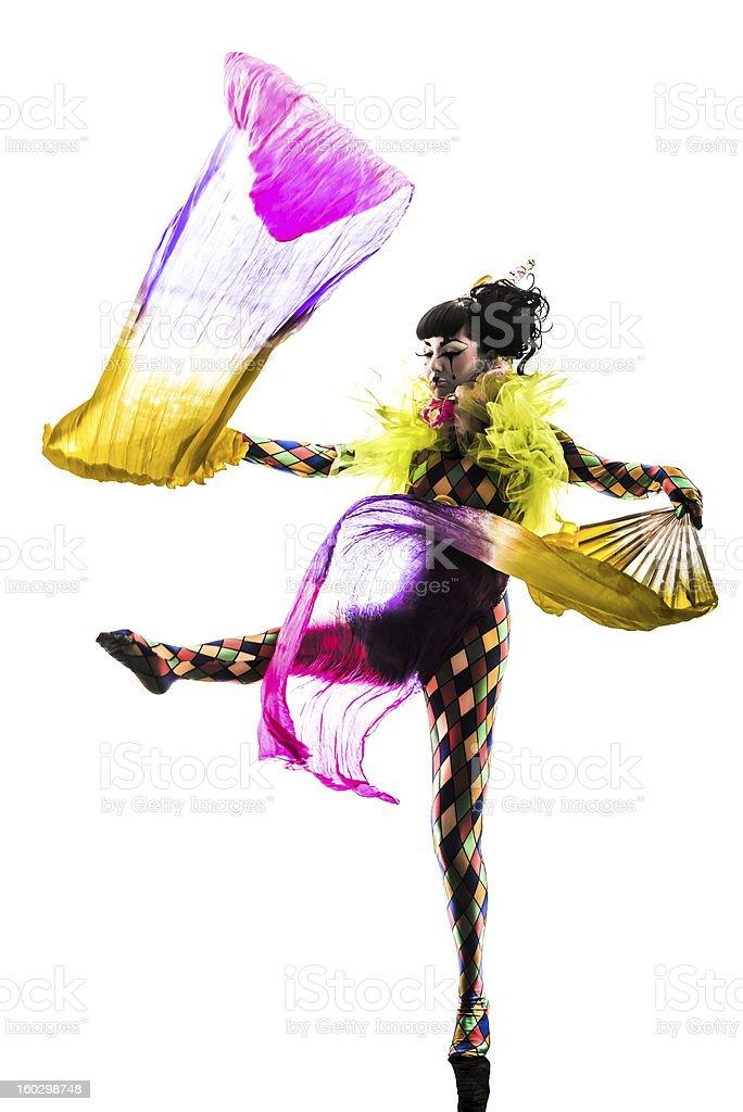 woman harlequin circus dancer performer  silhouette stock photo