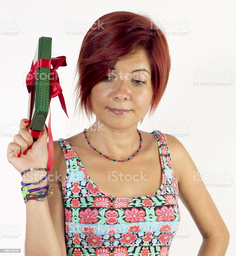 woman has a gift box royalty-free stock photo