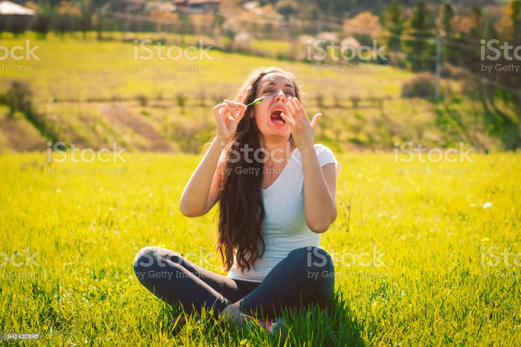 woman has allergy stock photo