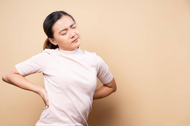 Woman has body pain stock photo