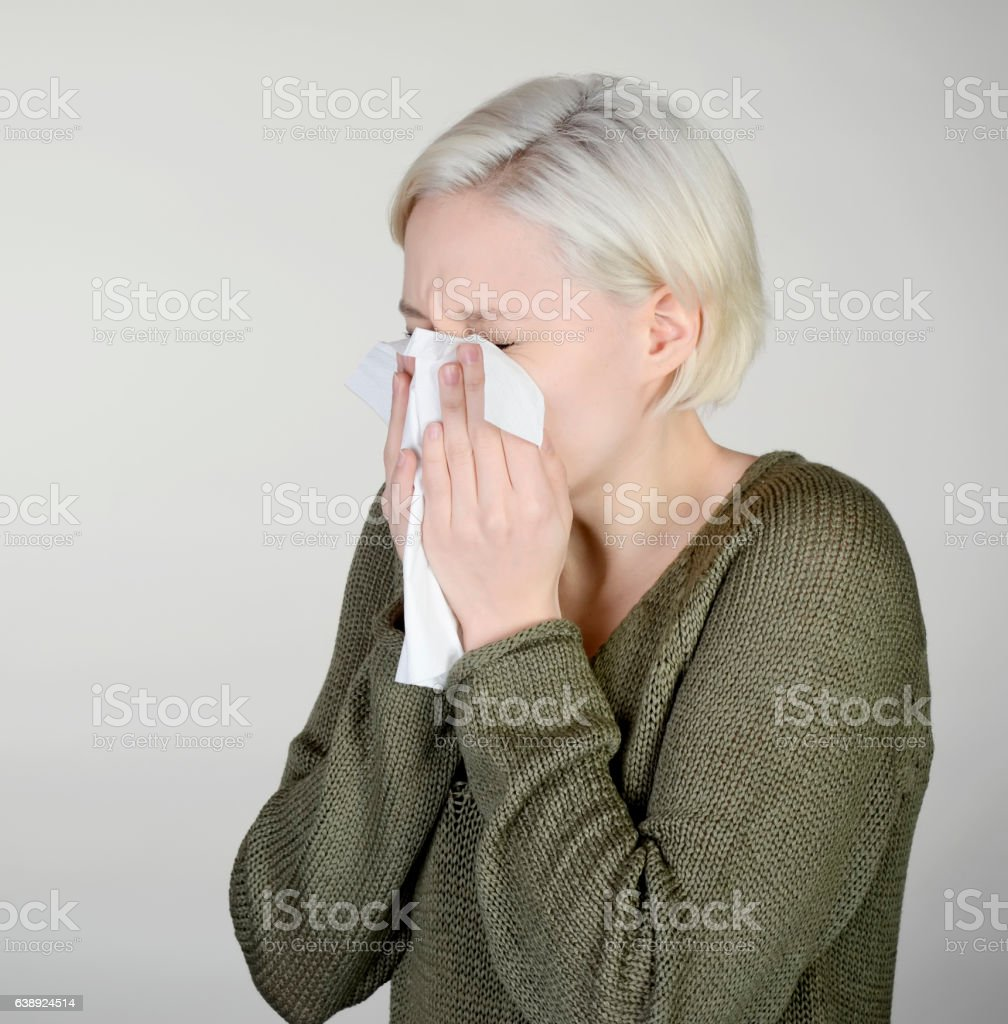 woman has hay fever stock photo