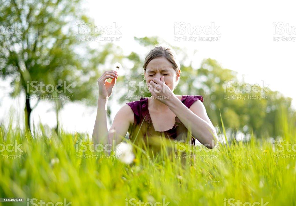 woman has hay fever stock photo