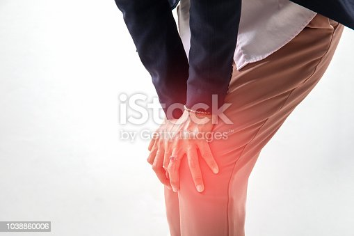 istock woman has knee pain on white 1038860006