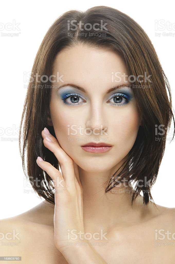 Woman has put to cheek back part of palm royalty-free stock photo