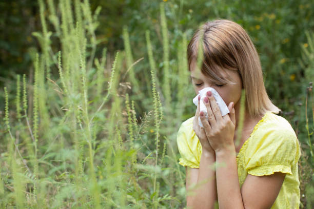 Woman have a problem with pollen allergy stock photo