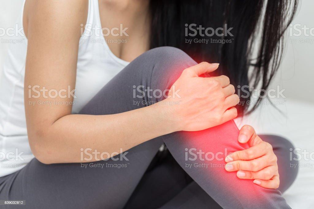 woman have a shin pain stock photo