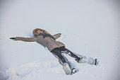Woman have winter fun