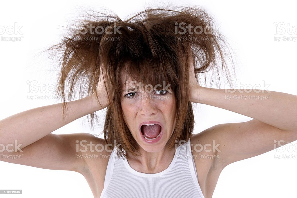 Woman having a bad day royalty-free stock photo