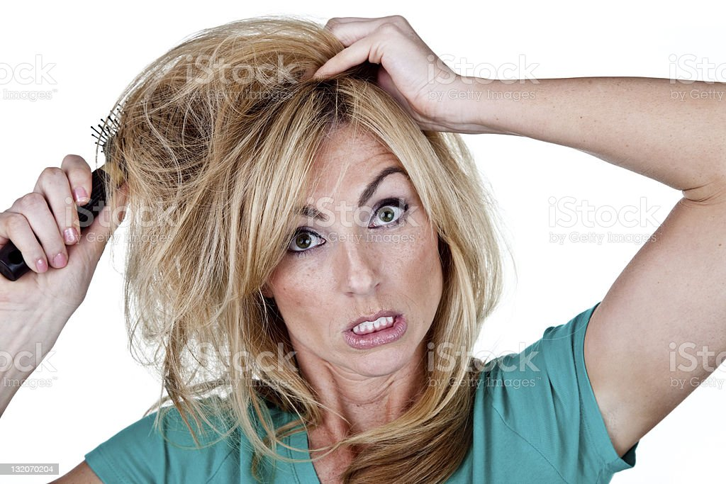 Woman having a bad hair day royalty-free stock photo