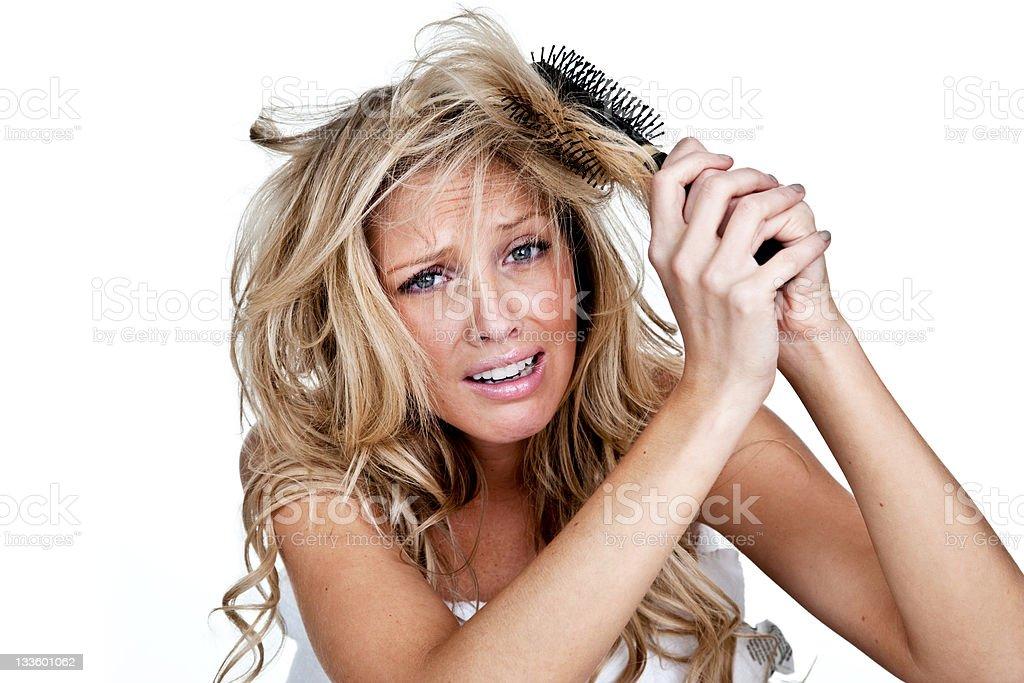 Frau mit einem schlechten Haar-Tag – Foto