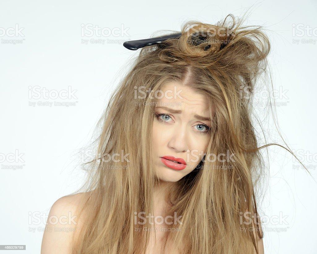 woman having a bad hair day stock photo