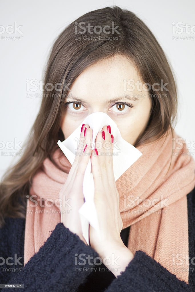 woman having a cold royalty-free stock photo