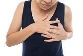 istock Woman having a pain in the heart area on white background 1037595676