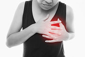 istock Woman having a pain in the heart area with red alert accent on white background 1037595670