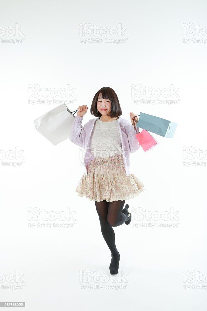 Woman having a paper sack stok fotoğrafı