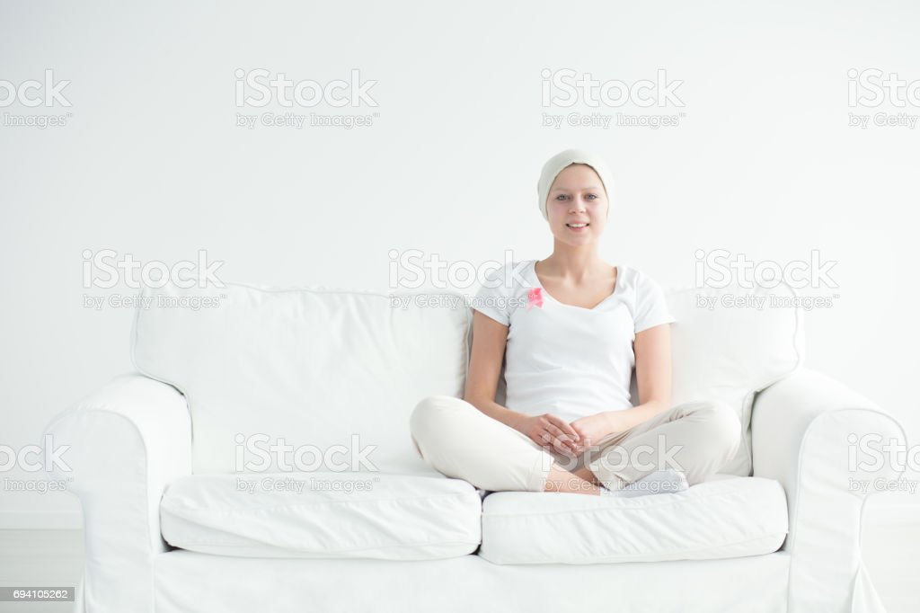 Woman having breast cancer stock photo