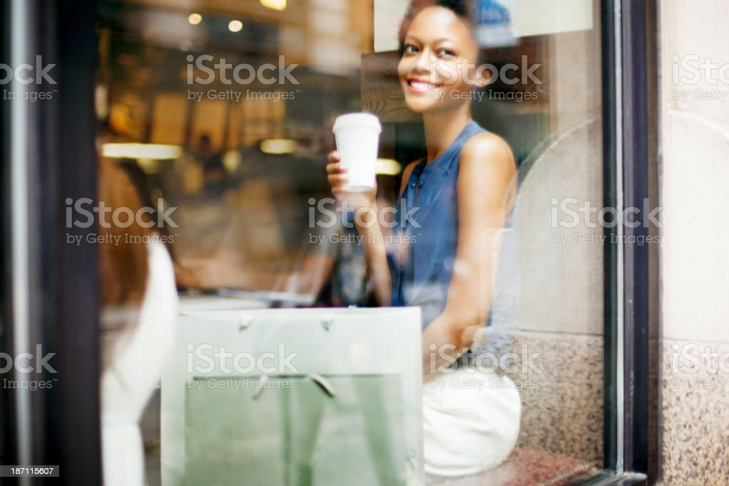 Woman having Coffee royalty-free stock photo