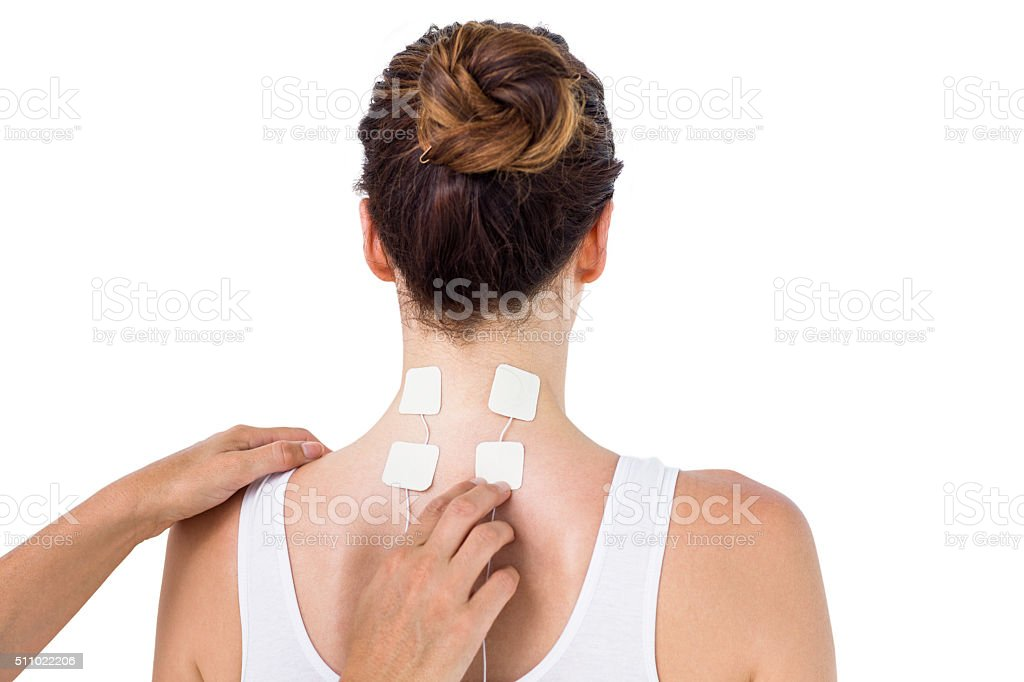 Woman having electrotherapy stock photo