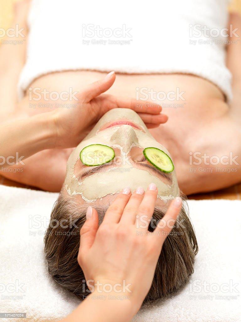 Woman having facial skin treatment royalty-free stock photo