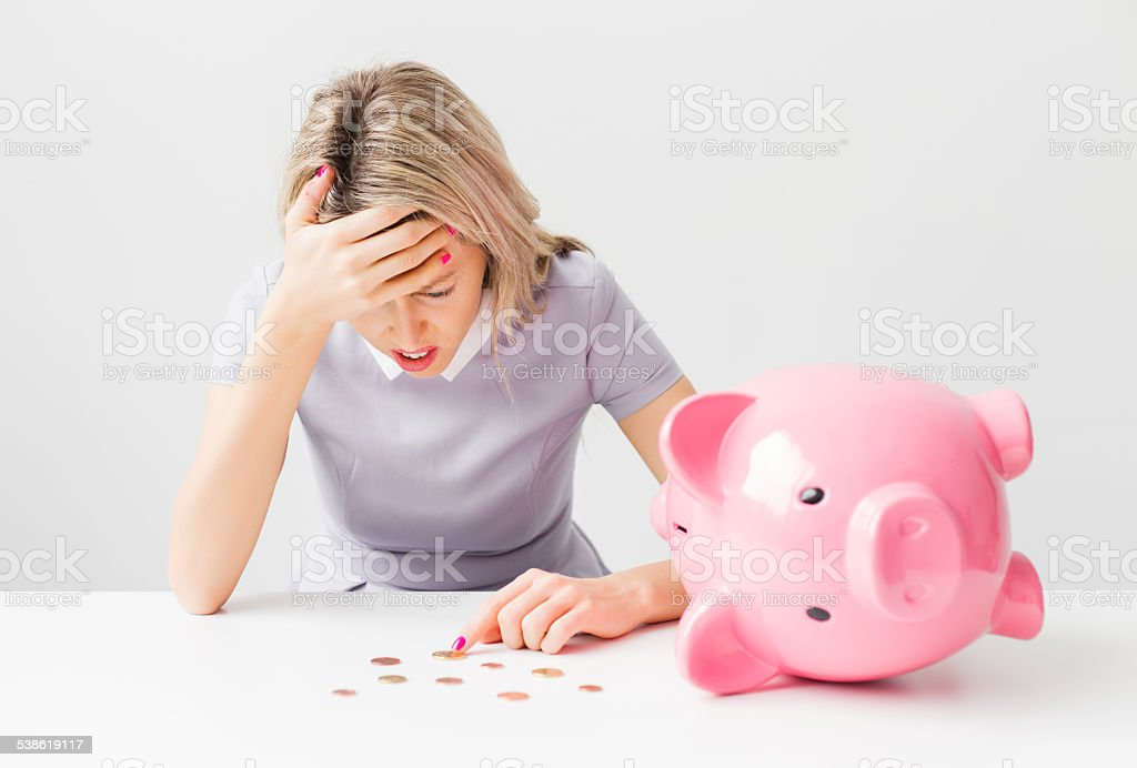 Woman having financial problems stock photo