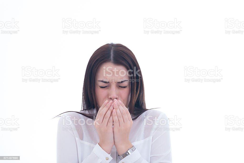 Woman having flu on white background stock photo