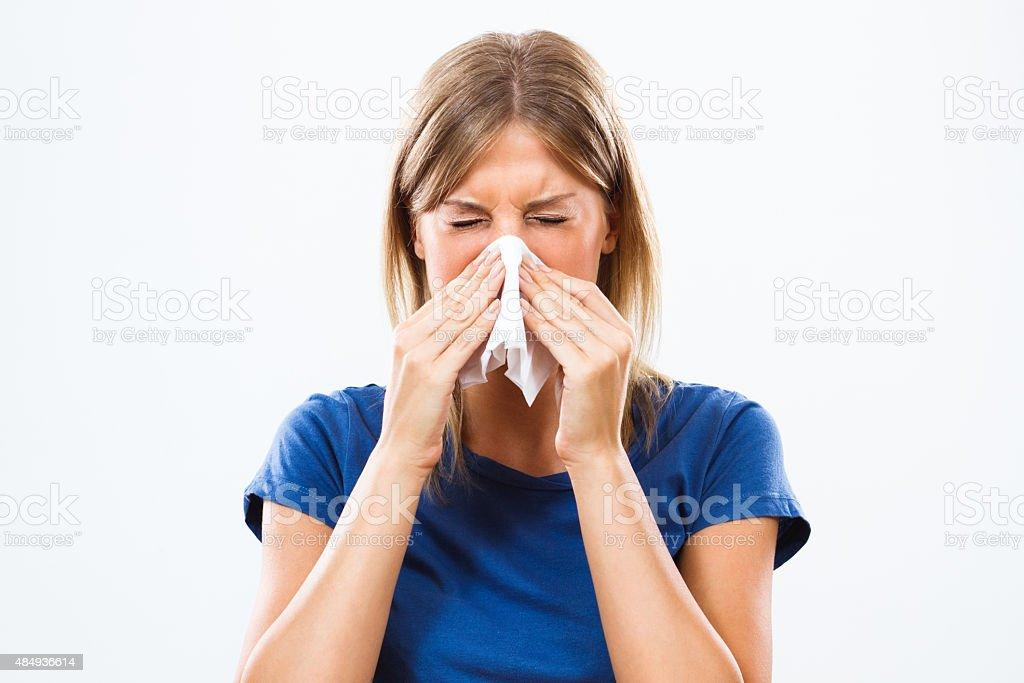 Frau mit Grippe – Foto