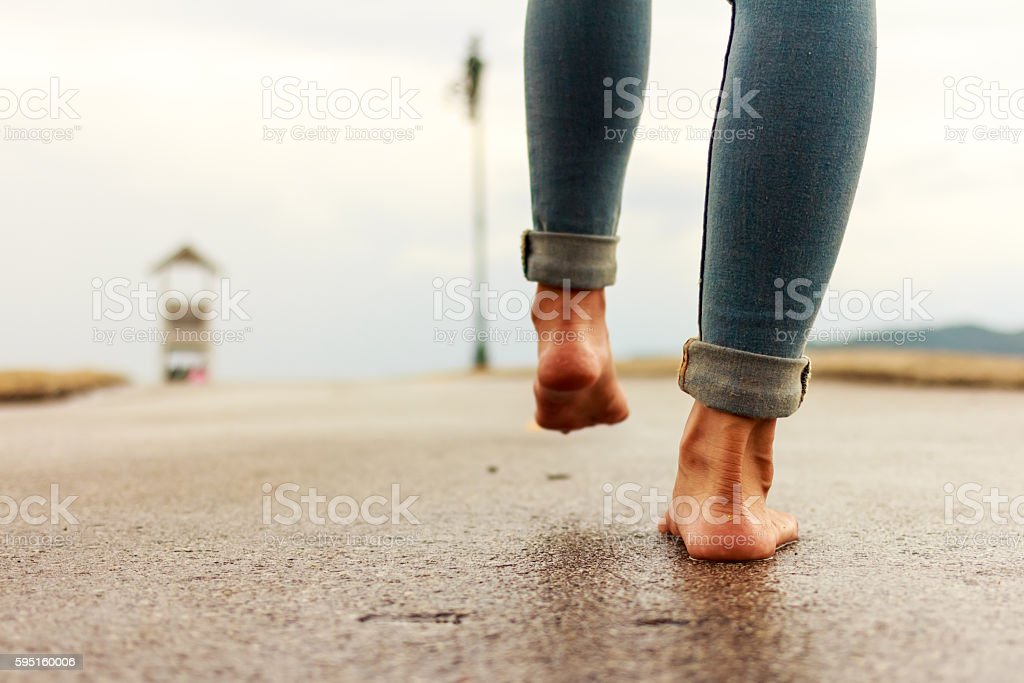 Woman having fun on the street stock photo