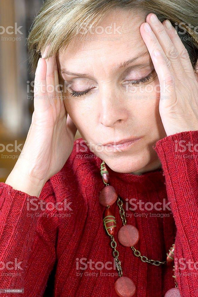 Woman having headache royalty-free stock photo