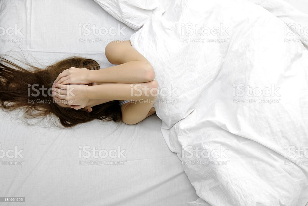 woman having insomnia stock photo