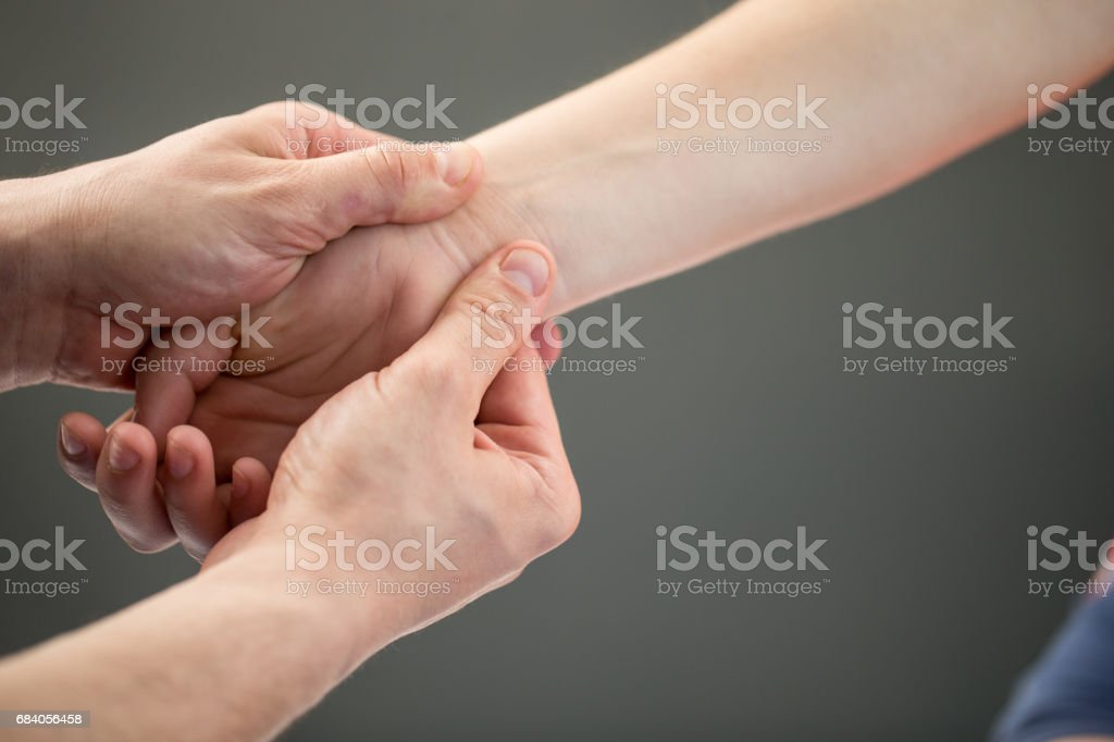 Woman Having Myofascial Release Therapy To Prevent Hand Tightness stock photo