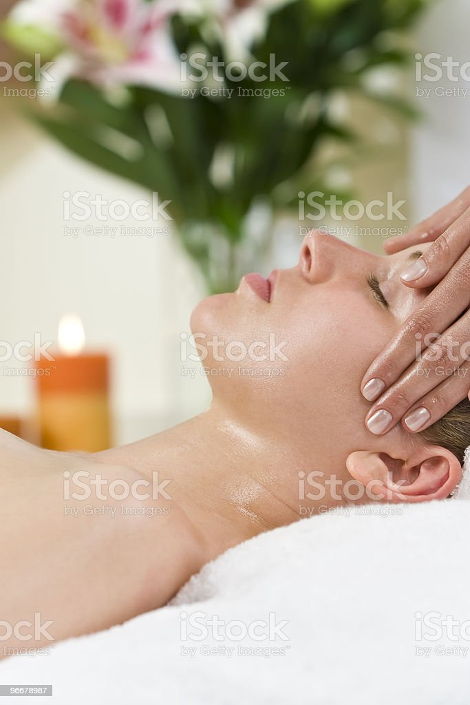 Woman Having Relaxing Head Massage At Health Spa royalty-free stock photo