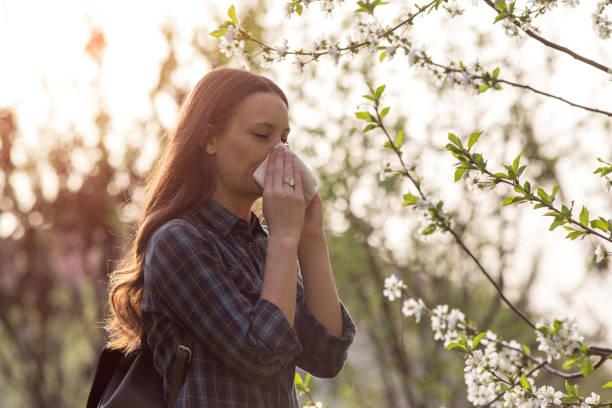 woman having spring allergy symptoms - pyłek zdjęcia i obrazy z banku zdjęć