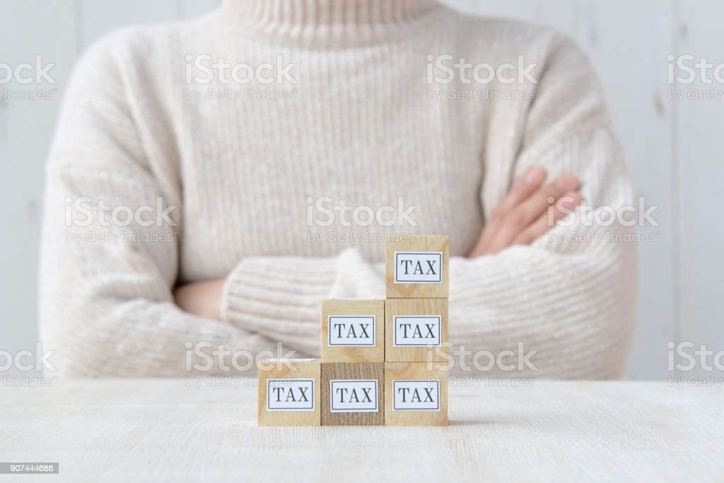 Woman having tax problem stock photo