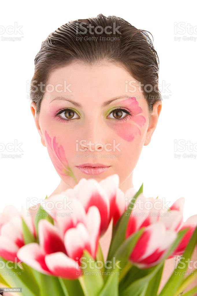 Woman head and tulips royalty-free stock photo