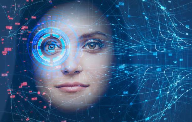 Frauenkopf, Gesichtserkennungstechnologie und HUD – Foto