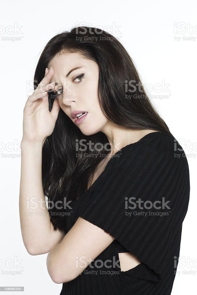 woman headache sadness royalty-free stock photo