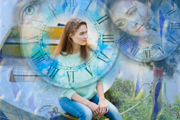 Woman, her soul and time Woman, her soul and time reincarnation stock pictures, royalty-free photos & images