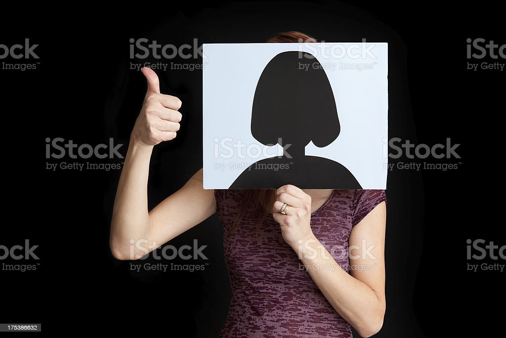 Woman Hiding Behind a Generic Profile Picture stock photo