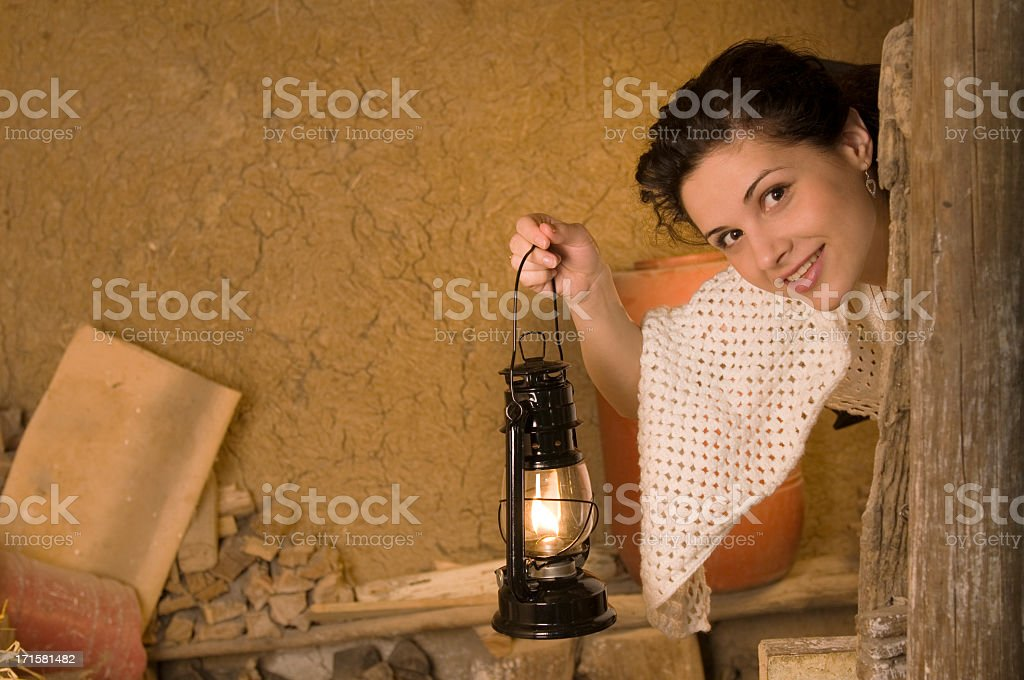 Woman hiding in the cellar royalty-free stock photo