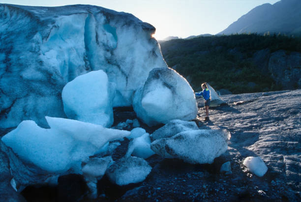 Woman hiker explores touches melting Exit Glacier Kenai Fjords National Park Alaska stock photo