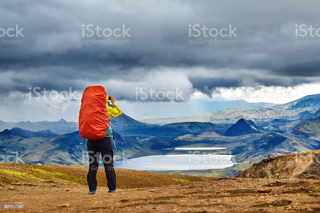 woman hiker photographer stock photo