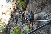 Woman hiker walking on Vernal falls trailhead