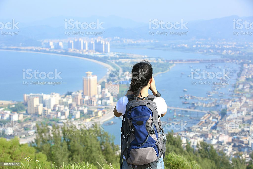 woman hiker/photographer  mountain peak royalty-free stock photo